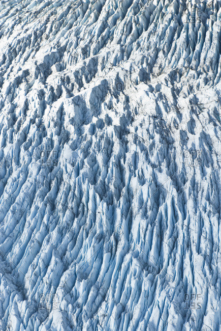Aerial Detail Of Ice Crevasses On Colony Glacier In Matanuska-Susitna Valley, South-central Alaska, Fall