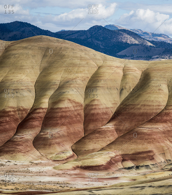 Colorful layers of minerals are exposed at John Day Fossil Beds National Monument; Mitchell, Oregon, United States of America