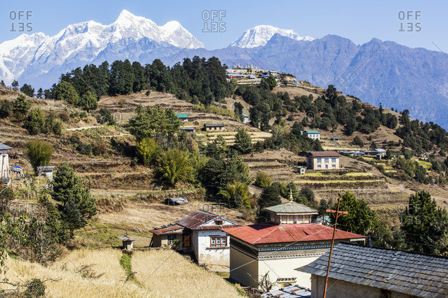 Valley landscape view in the Nepalese Himalayas with a Buddhist temple; Nepal