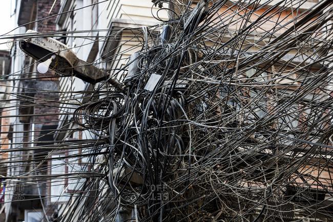 Tangled electrical wires; Kathmandu, Nepal