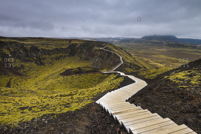 Steps going around the Grabrok crater; Iceland