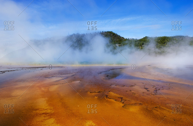 Midway Geyser Basin with the Grand Prismatic Spring, Yellowstone National Park; Wyoming, United States of America