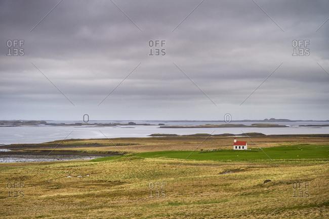 Remote church amongst fields near Stykkisholmur, Snaefellsnes peninsula; Iceland