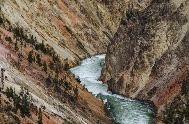 Yellowstone River flowing through the canyon, Yellowstone National Park; Wyoming, United States of America