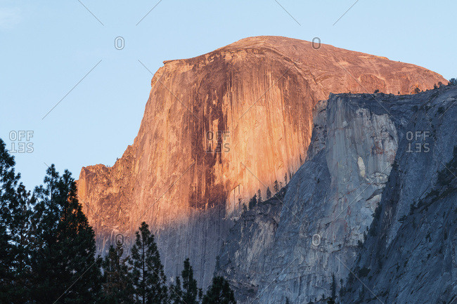 Half Dome sunset alpenglow, Yosemite National Park; California, United States of America