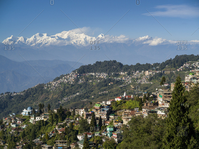 Town on a mountainside with the rugged, snow-capped peaks of the Himalayas in the distance; Darjeeling, West Bengal, India