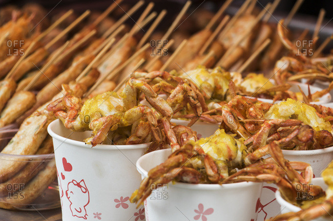 Deep-fried seafood for sale on Kulangsu Island; Xiamen, Fujian, China