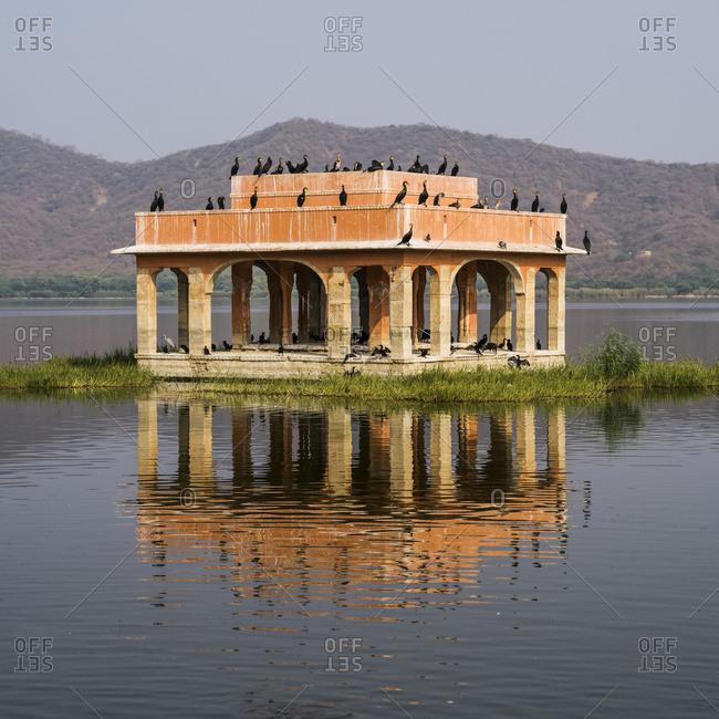 Jal Mahal Palace submerged in Man Sugar Lake with birds perched on it; Jaipur, Rajasthan, India