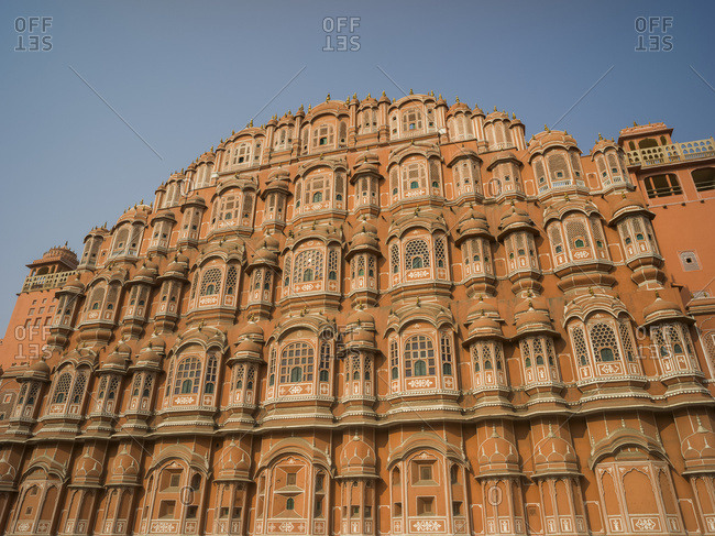 Palace of the Winds, named because it was essentially a high screen wall built so that the women of the royal family could observe street festivals while unseen from the outside; Jaipur, Rajasthan, India
