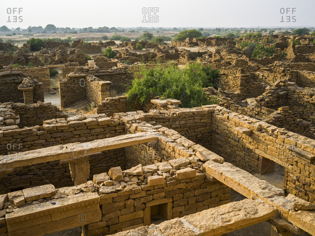 Abandoned village in the Jaisalmer district of Rajasthan. Kuldhara acquired reputation as a haunted site; Jiyai, Rajasthan, India