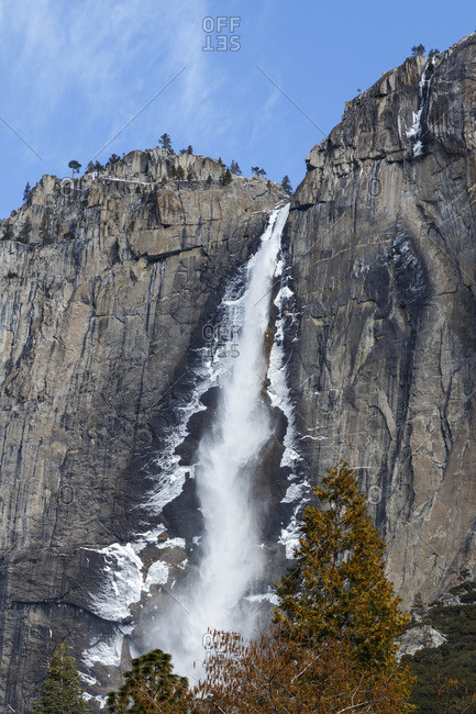 Yosemite Falls, Yosemite Valley in winter, Yosemite National Park; California, United States of America