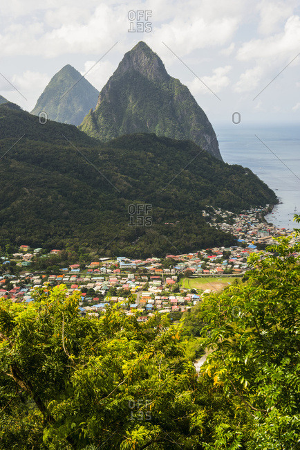 The Pitons (Gros Pitons & Petit Piton) near Soufriere; Saint Lucia
