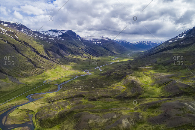 Aerial view of the rugged landscape of Northern Iceland; Iceland