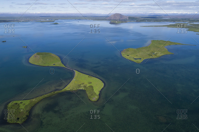 Extinct volcanoes in Lake Myvatn, Northern Iceland; Iceland