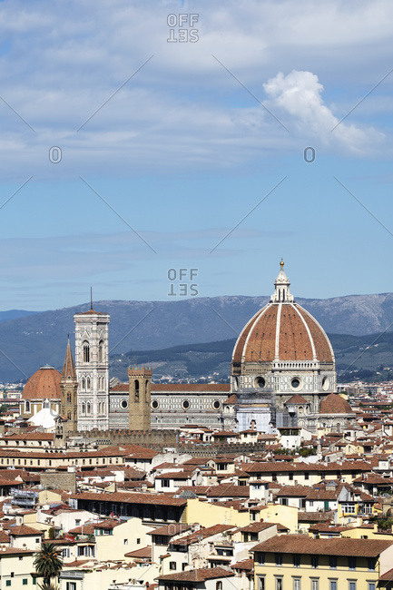 Florence cityscape showing Florence Cathedral, Giotto's Campanile and Brunelleschi's Dome; Florence, Tuscany, Italy