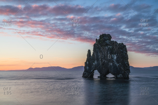 The rock formation known as Hvitserkur, at sunset, Northern Iceland; Iceland