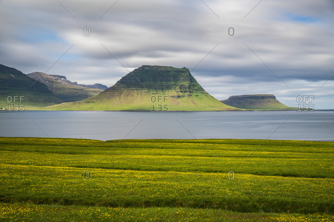 Kirkjufell seen from a distance with a long exposure, Snaefellsness Peninsula; Iceland