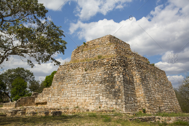 Mayan ruins, Structure CA-4, Oxkintok Archaeological Zone, 300 -1,050 AD; Yucatan, Mexico