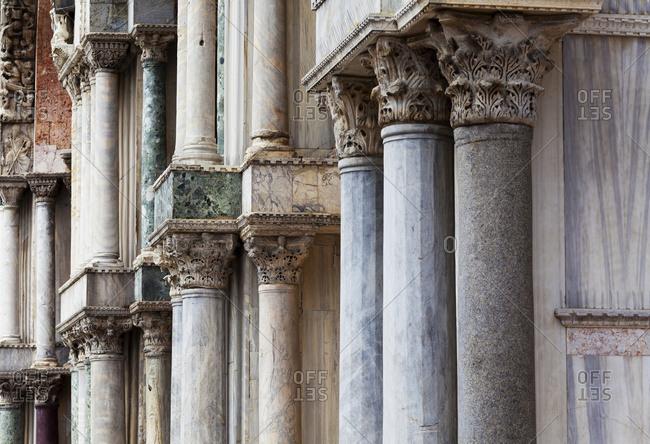 Marble columns of St. Mark's Basilica; Venice, Italy