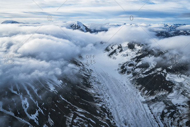 Aerial view of the glaciers and mountains of Kluane National Park and Reserve, near Haines Junction; Yukon, Canada
