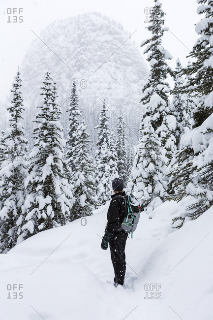 Female snowshoer on snowy trail overlooking snow-covered evergreen trees and a domed snow-capped mountain, Banff National Park; Lake Louise, Alberta, Canada