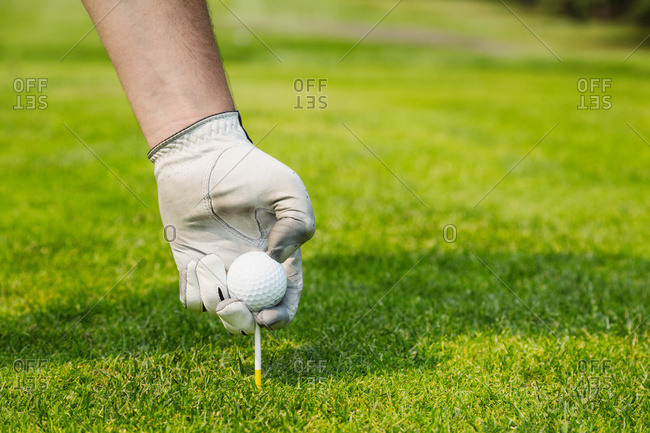 Close up of a golfer's hand wearing a white golf glove and placing a golf ball on a tee; Edmonton, Alberta, Canada