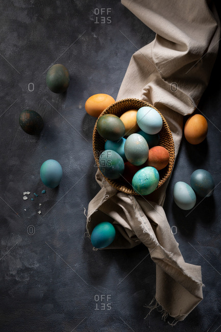Eggs for Easter dyed with natural pigment