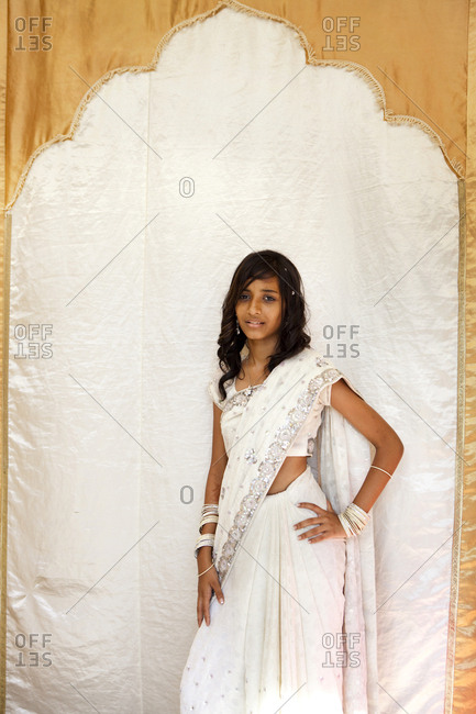 MAURITIUS,  - December 8, 2010: portrait of a young woman Khoshika Oodum at a wedding in the town of Surina
