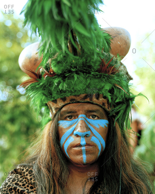 MEXICO, Maya Riviera,  - March 20, 2017: Mayan Indian man in ceremonial costume, Yucatan Peninsula