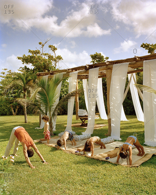MEXICO, Maya Riviera,  - March 20, 2017: kids doing yoga, Esencia Hotel and Villas