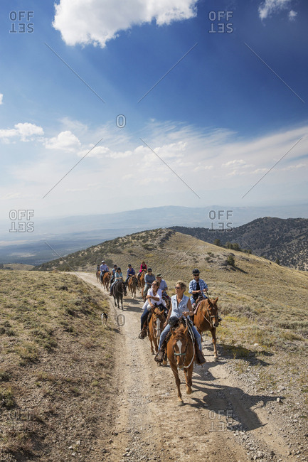 USA, Nevada, Wells, - September 20, 2014:  guests can participate in Horse-Back Riding Excursions during their stay at Mustang Monument, A sustainable luxury eco friendly resort and preserve for wild horses, Saving America's Mustangs Foundation