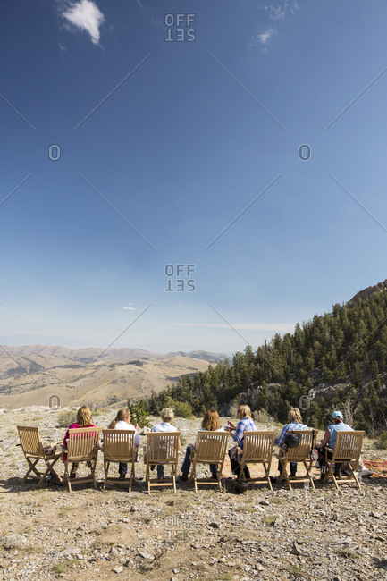 USA, Nevada, Wells, - September 20, 2014:  guests take a break and relax during a horse-back excursion at Mustang Monument, A sustainable luxury eco friendly resort and preserve for wild horses, Saving America's Mustangs Foundation