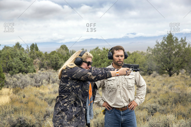 USA, Nevada, Wells, - September 21, 2014:  guests can take advantage of Shooting Range Lessons during their stay at Mustang Monument, A sustainable luxury eco friendly resort and preserve for wild horses, Saving America's Mustangs Foundation