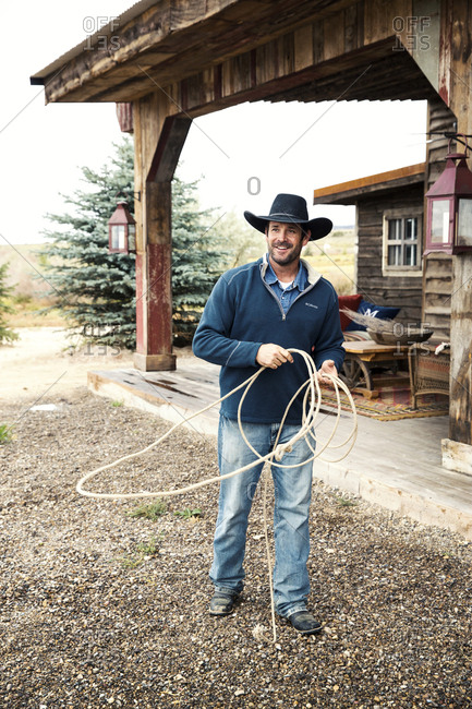 USA, Nevada, Wells, - September 21, 2014:  guests can take advantage of Roping Lessons during their stay at Mustang Monument, A sustainable luxury eco friendly resort and preserve for wild horses, Saving America's Mustangs Foundation