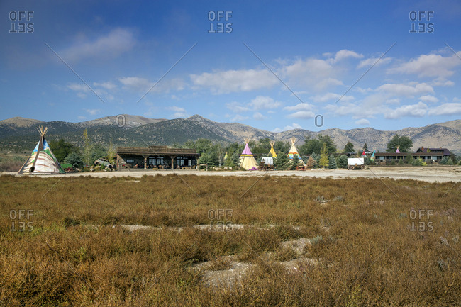 USA, Nevada, Wells, - September 22, 2014:  colorful tipis are scattered all over Mustang Monument, A sustainable luxury eco friendly resort and preserve for wild horses, Saving America's Mustangs Foundation