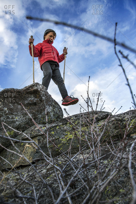 USA, Oregon, Ashland, - October 30, 2014:  portrait of 6 year old Christian Rego aka Buddy Backpacker while hiking the Pacific Crest Trail near Ashland Oregon with his mom Andrea Rego and Dion, Christian will be the youngest hiker to complete the Pacific Crest Trail in a single season