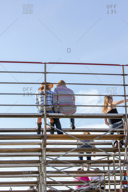 USA, Oregon,  - June 11, 2014: Sisters, Sisters Rodeo, spectators watch the events of the Sisters Rodeo