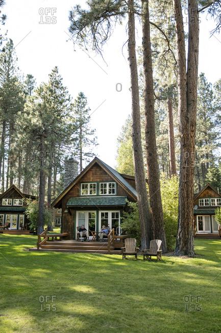 USA, Oregon,  - September 11, 2015: Camp Sherman, Metolius River Resort, Cabins