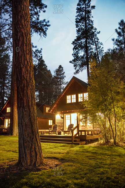 USA, Oregon,  - September 11, 2015: Camp Sherman, Metolius River Resort, Evening light cabins