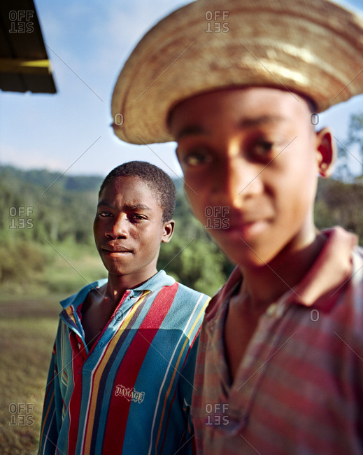 PANAMA, Cana,  - March 20, 2017: portrait of two boys at the Cana Field Station, Darien Jungle, Central America