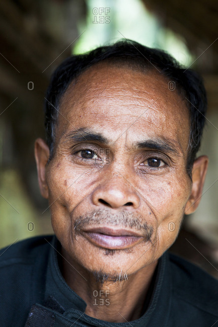 PHILIPPINES, Palawan, Barangay region,  - February 8, 2011: portrait of Batak Chief in his home in Kalakwasan Village