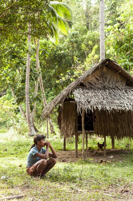 PHILIPPINES, Palawan, Barangay region,  - February 8, 2011: portrait of a young Batak woman in Kalakwasan Village