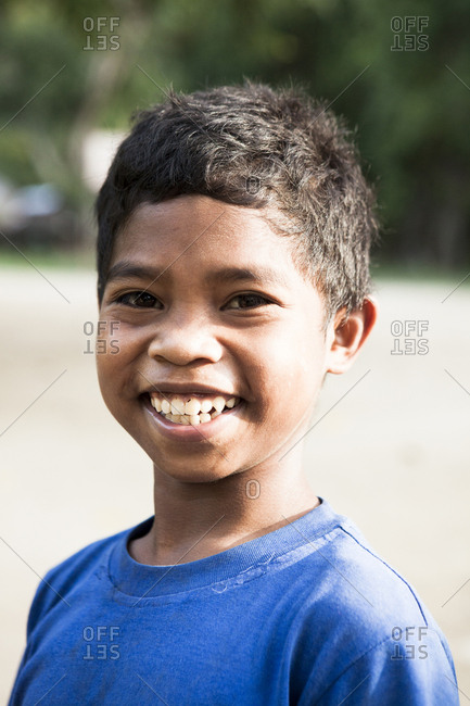 PHILIPPINES, Palawan, Barangay region,  - February 8, 2011: portrit of a Batak boy in Kalakwasan Village
