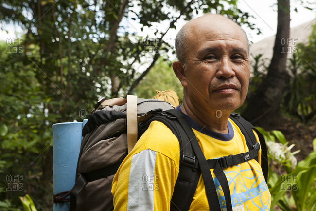 PHILIPPINES, Palawan, El Nido, - February 9, 2011:  portraits of guide Ernie Aguirre in the town of El Nido