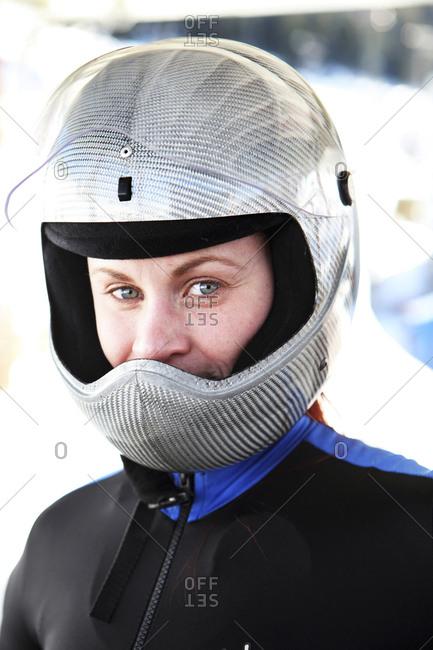 USA, Utah, Park City, - February 4, 2012:  portrait of a skeleton racer at Utah Olympic Park
