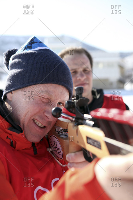 USA, Utah, Midway, Soldier Hollow,  - February 6, 2012: learning how to biathlon, sighting in the target