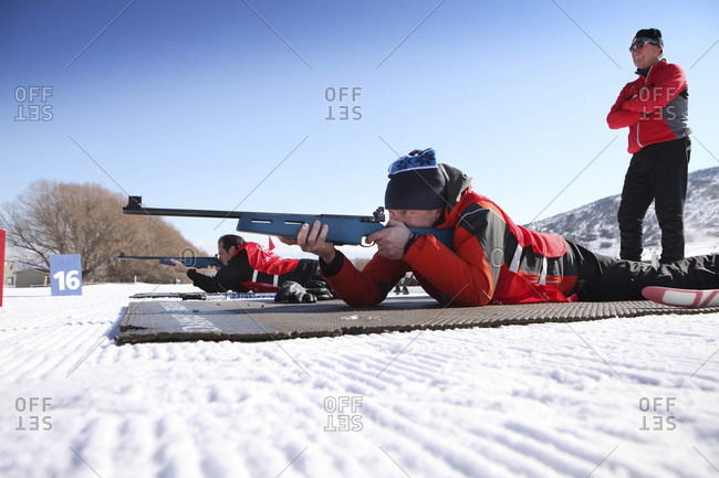 USA, Utah, Midway, Soldier Hollow,  - February 6, 2012: learning how to Biathlon, shooting targets after the first lap of the race