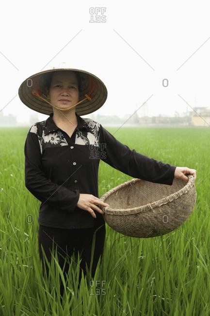 VIETNAM, Hanoi,  - April 13, 2010: Hanoi countryside, portrait of rice farmer Nguyen Thi Ha in her rice field, Nguyen Huu Y village