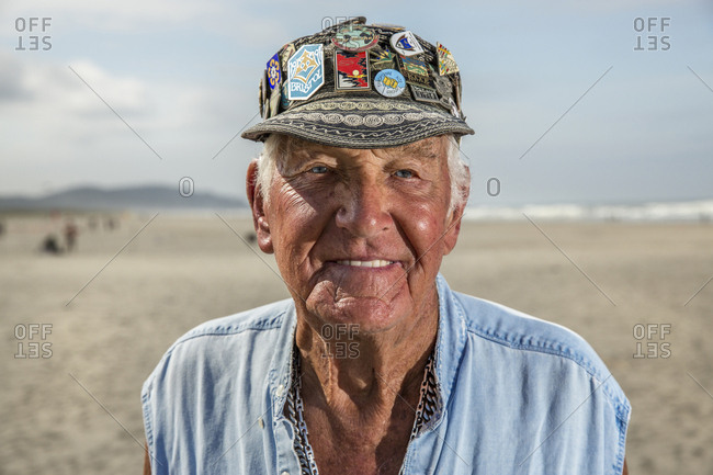 USA, Washington State, Long Beach Peninsula,  - August 21, 2014: International Kite Festival, portrait of Vancouver, Canada resident Ray Bethell, he is well know in the kite flying community for flying multiple kites at one time, he has attended for over 37 years