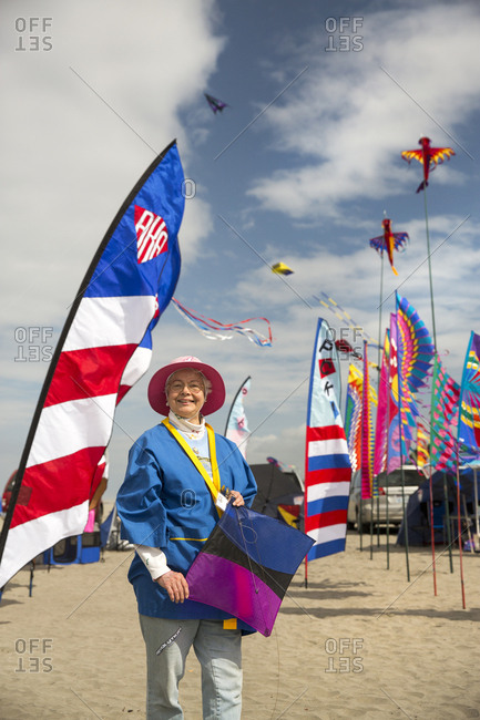 USA, Washington State, Long Beach Peninsula,  - August 21, 2014: International Kite Festival, portrait of Sylvia Bernauer, she has been attending for over 25 years